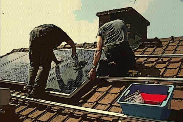 contractors making repairs on solar roof